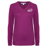 Ladies Deep Berry V Neck Sweater-New Primary Logo Embroidery