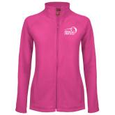 Ladies Fleece Full Zip Raspberry Jacket-New Primary Logo Embroidery