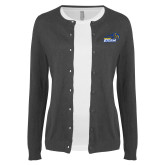 Ladies Charcoal Cardigan-New Primary Logo Embroidery