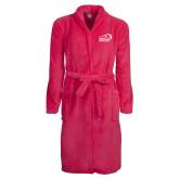 Ladies Pink Raspberry Plush Microfleece Shawl Collar Robe-New Primary Logo Embroidery