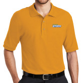 Gold Easycare Pique Polo-Savage Storm Word Mark