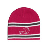 Pink/Charcoal/White Striped Knit Beanie-New Primary Logo Embroidery