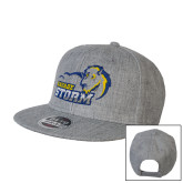 Heather Grey Wool Blend Flat Bill Snapback Hat-New Primary Logo Embroidery
