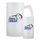 Full Color Decorative Frosted Glass Mug 16oz-New Primary Logo