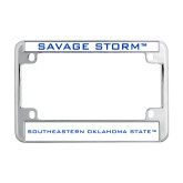 Metal Motorcycle License Plate Frame in Chrome-Savage Storm