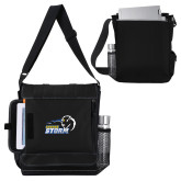 Impact Vertical Black Computer Messenger Bag-New Primary Logo Embroidery