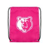 Pink Drawstring Backpack-Bear Head