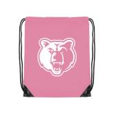 Light Pink Drawstring Backpack-Bear Head
