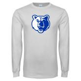 White Long Sleeve T Shirt-Bear Head