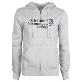 ENZA Ladies White Fleece Full Zip Hoodie-Instituitonal Mark