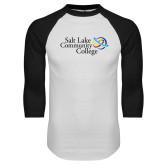 White/Black Raglan Baseball T Shirt-Instituitonal Mark