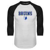 White/Black Raglan Baseball T Shirt-Stacked w Bear Head