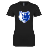 Next Level Ladies SoftStyle Junior Fitted Black Tee-Bear Head