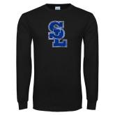 Black Long Sleeve T Shirt-SL Distressed