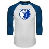 White/Royal Raglan Baseball T Shirt-Bear Head