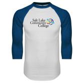 White/Royal Raglan Baseball T Shirt-Instituitonal Mark