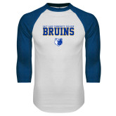 White/Royal Raglan Baseball T Shirt-Stacked w Bear Head