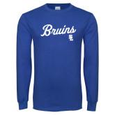 Royal Long Sleeve T Shirt-Bruins Script