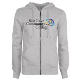 ENZA Ladies Grey Fleece Full Zip Hoodie-Instituitonal Mark