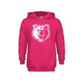 Youth Raspberry Fleece Hoodie-Bear Head