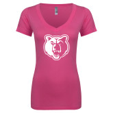 Next Level Ladies Junior Fit Ideal V Pink Tee-Bear Head