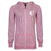 ENZA Ladies Hot Pink Marled Full Zip Hoodie-Bear Head