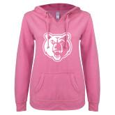 ENZA Ladies Hot Pink V Notch Raw Edge Fleece Hoodie-Bear Head