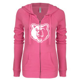 ENZA Ladies Hot Pink Light Weight Fleece Full Zip Hoodie-Bear Head