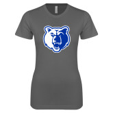 Next Level Ladies SoftStyle Junior Fitted Charcoal Tee-Bear Head