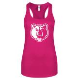 Next Level Ladies Raspberry Ideal Racerback Tank-Bear Head