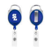 Blue Oval Retractable Badge Holder w/Clip-Primary Mark