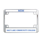 Metal Motorcycle License Plate Frame in Chrome-Flat Word Mark