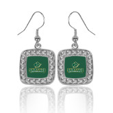 Crystal Studded Square Pendant Silver Dangle Earrings-Saint Leo University - Official Logo