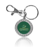 Crystal Studded Round Key Chain-Saint Leo University - Official Logo