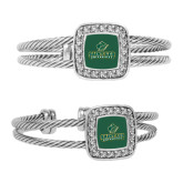 Crystal Studded Cable Cuff Bracelet With Square Pendant-Saint Leo University - Official Logo