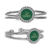 Crystal Studded Cable Cuff Bracelet with Round Pendant-Saint Leo University - Official Logo