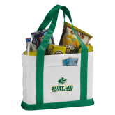 Contender White/Dark Green Canvas Tote-Saint Leo University - Official Logo