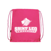 Pink Drawstring Backpack-Saint Leo University - Official Logo