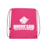 Nylon Pink Drawstring Backpack-Saint Leo University - Official Logo