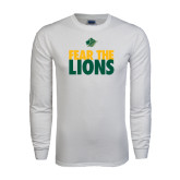 White Long Sleeve T Shirt-Fear The Lions