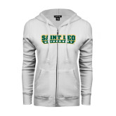 ENZA Ladies White Fleece Full Zip Hoodie-Saint Leo University