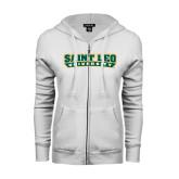 ENZA Ladies White Fleece Full Zip Hoodie-Saint Leo University