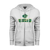 ENZA Ladies White Fleece Full Zip Hoodie-Saint Leo Lions