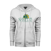 ENZA Ladies White Fleece Full Zip Hoodie-Saint Leo University - Institutional Mark