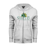 ENZA Ladies White Fleece Full Zip Hoodie-Saint Leo University - Institutional Mark