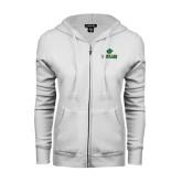 ENZA Ladies White Fleece Full Zip Hoodie-Saint Leo University - Official Logo