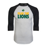 White/Black Raglan Baseball T-Shirt-Fear The Lions