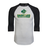 White/Black Raglan Baseball T-Shirt-Saint Leo University - Official Logo