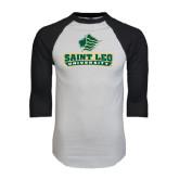 White/Black Raglan Baseball T-Shirt-Saint Leo University - Official Logo
