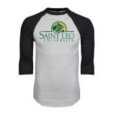 White/Black Raglan Baseball T-Shirt-Saint Leo University - Institutional Mark